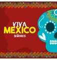 skull viva mexico with red background vector image