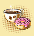 coffee and donut pop art vector image
