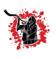 jew blowing the shofar kudu big horn vector image