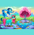 happy unicorn in a landscape of dreams vector image