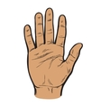 Painted hand with an open palm vector image