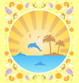 background summer card with dolphins vector image