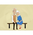 elderly couple embracing sitting on bench vector image