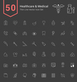 Healthcare and Medical Thin Icon Set vector image
