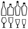 isolated bottles and alcohol glass set vector image