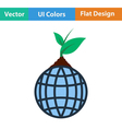 Planet with sprout icon vector image