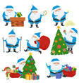 set of christmas santa claus in blue coat vector image