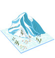 Ski resort on the slopes of the snow mountains vector image
