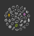 vegetables food shop color round design template vector image