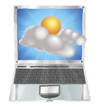 weather sun and cloud icon laptop concept vector image vector image