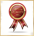 Premium quality red and gold label vector image