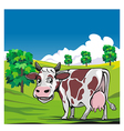 Cows in a meadow green background vector image