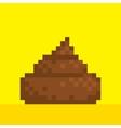Pixel art style poo on yellow vector image