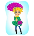 girl standing in autumn coat with purple umbrella vector image