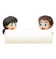 A girl and a boy holding an empty banner vector image