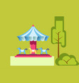 amusement park attractions merry-go-round vector image