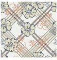 Hibiscus and Tartan pattern vector image