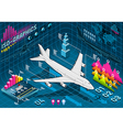 Isometric Infographic Set Elements with Airplane vector image