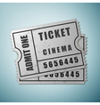 Silver cinema ticket icon isolated on blue vector image