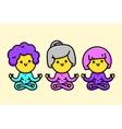 Three happy cartoon style old ladies doing yoga vector image