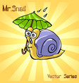 mr snail with umbrella vector image
