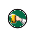 Hand Holding Mug Beer Circle Retro vector image