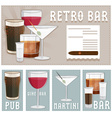 retro poster of bar with glasses of different vector image