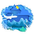 Airplane travel paper art concept vector image