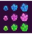 Magic cartoon shiny crystals set vector image
