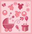 New born baby girl set vector image