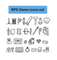 rpg game icons set vector image
