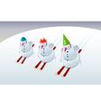 Snowmen on skis vector image
