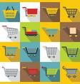 shopping cart icons set flat style vector image