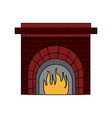 christmas chimney flame frame brick decoration vector image