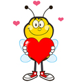 Smiling Bumble Bee Cartoon with a Red Love Heart vector image vector image