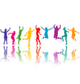 Colorful silhouettes jumping vector image
