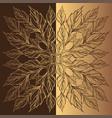 elegant golden round frame of stylized leaves vector image
