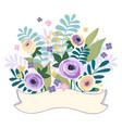 flower ribbons banner pastel color vintage style vector image