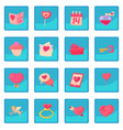 saint valentine icon blue app vector image