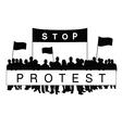 seniors protest silhouette vector image