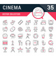 set flat line icons cinema and movies vector image