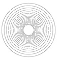 Thin random dashed concentric circles background vector image