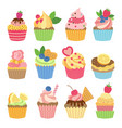 wedding vanilla cupcakes isolated on white vector image