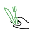 Holding Fork and Knife vector image