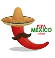 chili red with hat and moustache design vector image