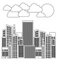 figure city builds with clouds and sun vector image