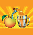 apple juice is poured into a mug vector image