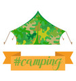 tourist camping tent house camouflage isolated on vector image