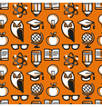 seamless pattern in flat style with education icon vector image vector image