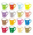 colored mugs vector image vector image